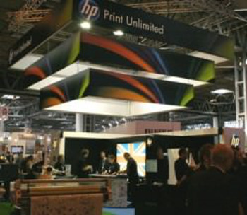 HP's stand featured an extensive product line-up
